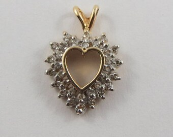 Heart Encircled With Stones 14K Gold Vintage Charm For Bracelet