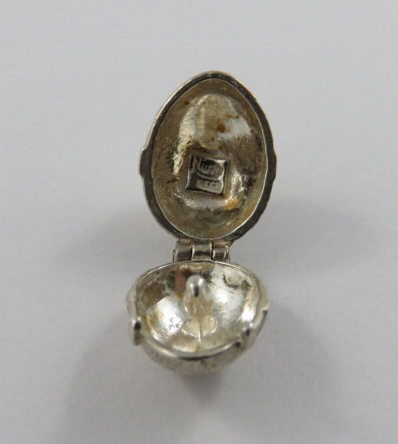 Easter Egg With Chick Inside Mechanical Silver Vintage Charm For Bracelet