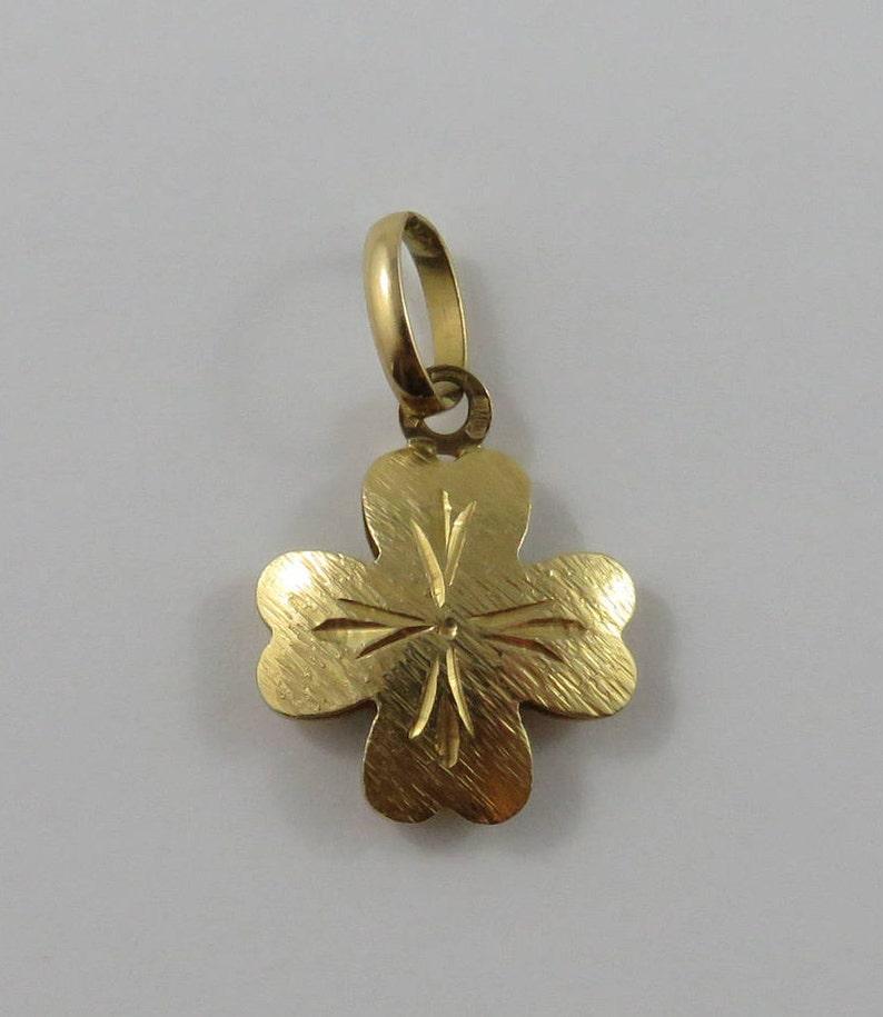 4165aa4e5 Four Leaf Clover 18K Gold Vintage Charm For Bracelet | Etsy