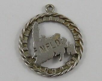 Map of Newfoundland Sterling Silver Vintage Charm For Bracelet