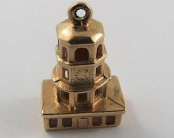 Clock Tower Halifax 10K Gold Vintage Charm For Bracelet