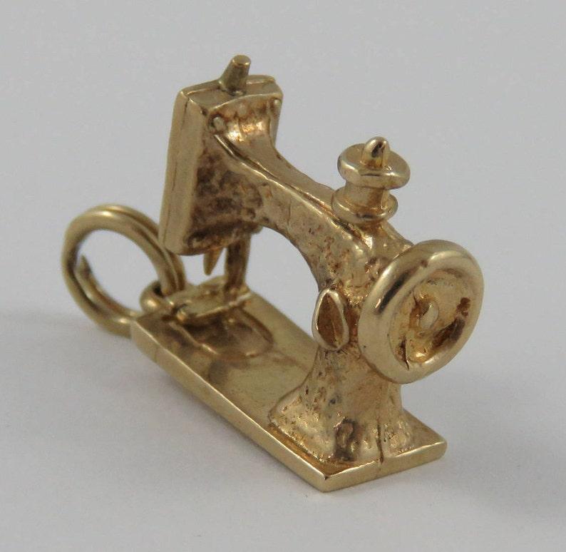 Sewing Machine 10K Gold Vintage Charm For Bracelet