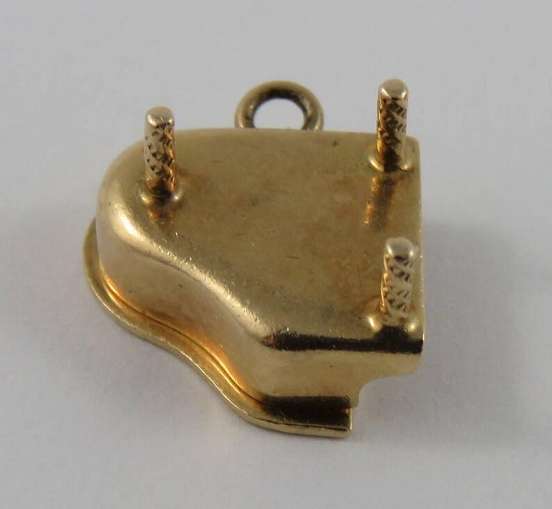 Piano With Enamel Keys Mechanical 14K Gold Vintage Charm For Bracelet
