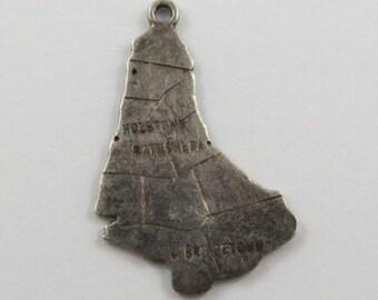 Map of Barbados Silver Vintage Charm For Bracelet