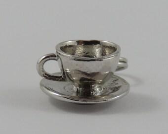 Teacup and Saucer Sterling Silver Vintage Charm For Bracelet