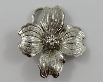 Large Flower Sterling Silver Vintage Charm For Bracelet