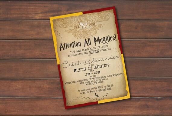 Harry Potter Urodziny Party Zaproszenie Cyfrowy Plik Etsy