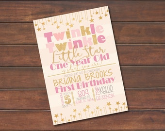 Pink and Gold First Birthday Invitation *DIGITAL FILE* (.jpg or PDF)