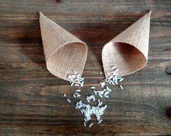 20 Mini cones for confetti de jute Confetti Cones, Confetti Holders, wedding favor cone 5.9inches mantain its shape