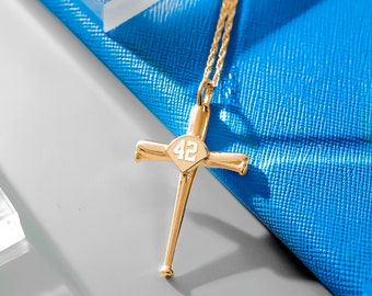 Baseball Cross Necklace, Baseball Bat Cross Necklace Pendant with Number, Baseball Jewelry, Baseball Gifts, Baseball Bat Gifts