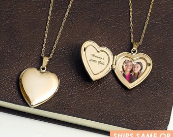 Gold Locket Necklace, Gold Locket Necklace, 14k Gold Filled Locket Necklace, Exclusive Permanent Laser Engraved Photo, Gold Heart Locket