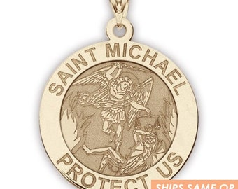 Solid 14K Gold Saint Michael Round Religious Medal