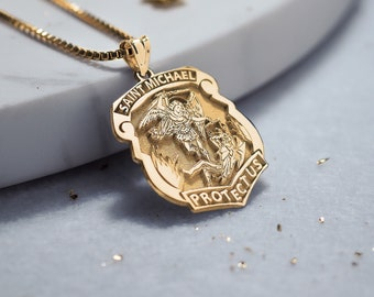 Solid 14K Gold Saint Michael Badge