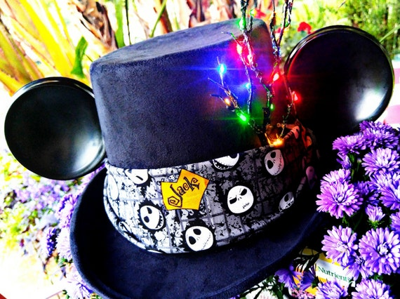Nightmare Before Christmas Hat.Jack Skellington Mickey Ears. Mickey Top Hat. Halloween Hat.