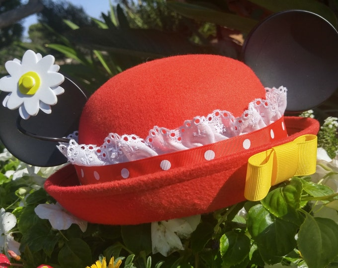 Featured listing image: Minnie Ears. Minnie Mouse Ears. Red and White Minnie Hat. Minnie Hat.