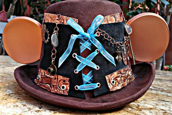 Steampunk Alice/ Wonderland. Adult Stmpunk Disney. Top Hat Mickey Mouse Hat. Original Disneyland Hat. Mickey Mouse Ears. Custom Disney Hat.