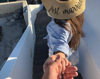0c0ad925 Just married hat, Personalized floppy hat, Beach hat, Custom embroidered  straw hat, Newlywed hats, Honeymoon hat, Bridal shower gift
