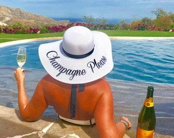 de9c241e Champagne please hat, Bachelorette party, Embroidered floppy hat, Personalized  beach hat, Personalized sun hat champagne, Bridal shower gift