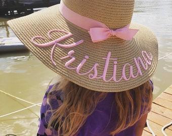 Toddler straw hat, Custom embroidered kids beach straw hat, Baby hat, Personalized girls floppy sun hat, Monogrammed straw hat