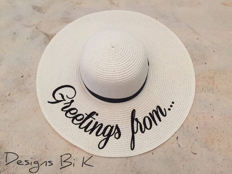 802f54e759d08 Greetings from hat Personalized sun hat Floppy beach hat