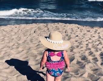 Custom embroidered baby beach straw hat, Toddler sun hat with pompoms, Kids beach hat, Personalized girls floppy hat, Monogrammed straw hat