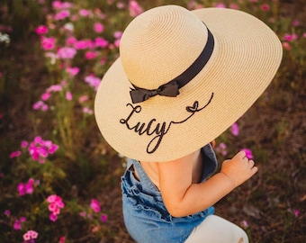 Custom embroidered beach straw hat with name and heart, Toddler beach straw hat, Personalized girls floppy sun hat, Monogrammed straw hat