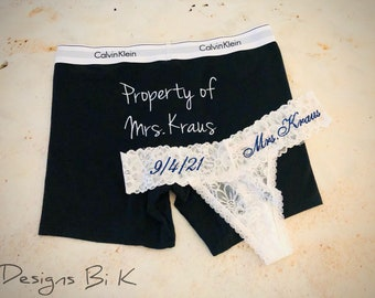 Mrs sheer lace thong panties and Property of Mrs boxers, Personalized wedding lingerie, Embroidered boxers & thong panty set