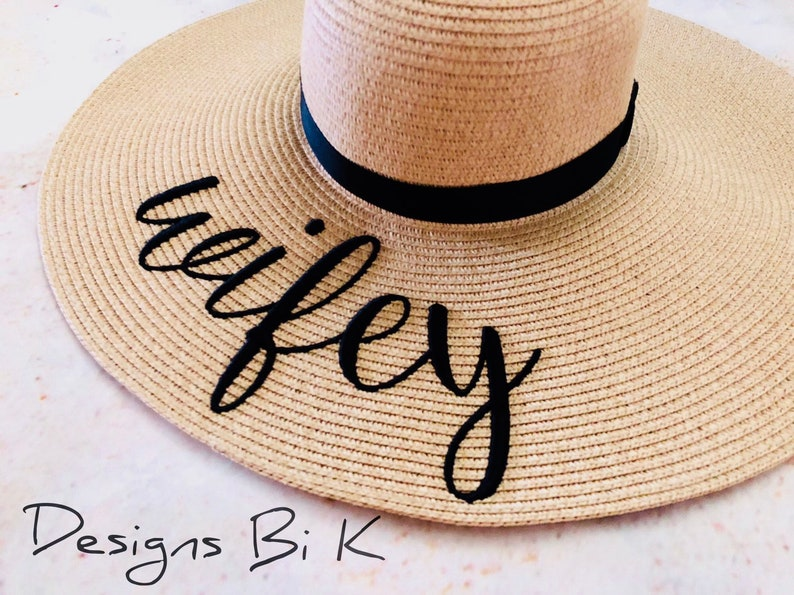 b0002db2 Wifey beach hat Embroidered beach hat Personalized beach | Etsy