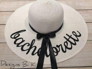 Bachelorette hats, Monogram floppy hat, Personalized sun hat, Embroidered floppy beach hat, Beach bachelorette party, Bridal shower gift