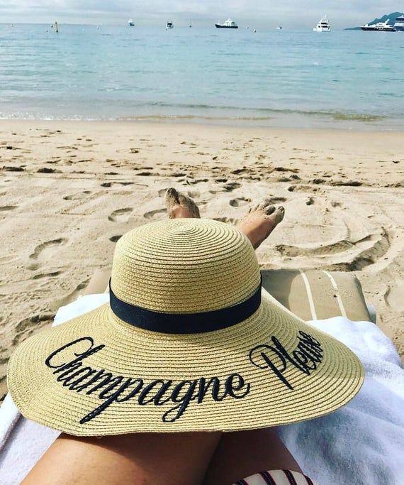 40394353 Personalized hat Champagne Please Embroidered Beach Hat | Etsy