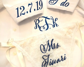 Embroidered side-tie see through bridal panties with button down shirt, Personalized bride long sleeve shirt with wedding underwear