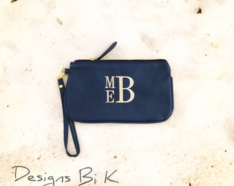 Personalized wristlet, Monogrammed wristlet, Small wristlet bag, Zipper pouch, Leather like wristlet, Personalized gift, Bridesmaid gift