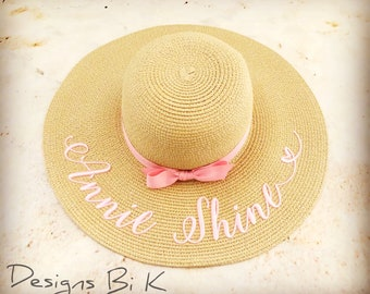Personalized kids beach hat with two names, Toddler straw hat, Custom embroidered baby beach straw hat, Monogrammed girls floppy sun hat