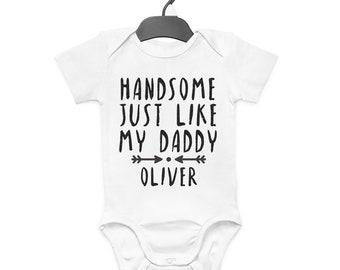 HANDSOME JUST LIKE DADDY DAD PERSONALISED BABY BIB FUNNY CUTE BIRTHDAY