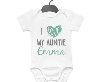 ea3881e02 I Love My Auntie Personalised Baby Grow Vest Custom Funny Gift Cute