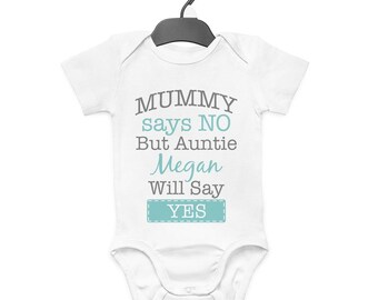 Personalised Nanny Will Teach Fun Stuff Babygrow Custom Name Gift New Born