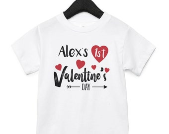 1ST VALENTINES DAY PERSONALISED BABY TODDLER T SHIRT KIDS FUNNY GIFT CUTE