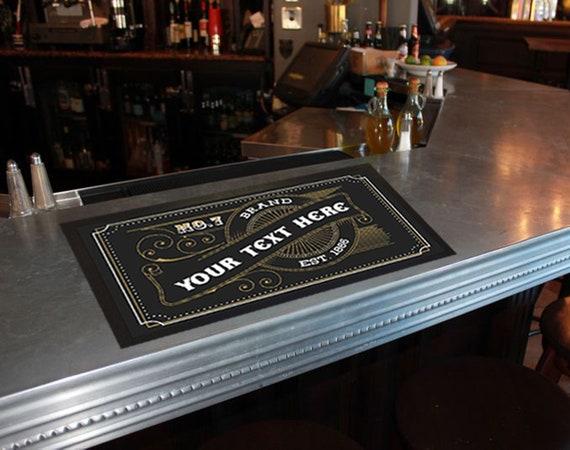 Personalised Bar Mat Custom Runner Gift 57 Happy Hour Open 24h 24 Beer Cheers