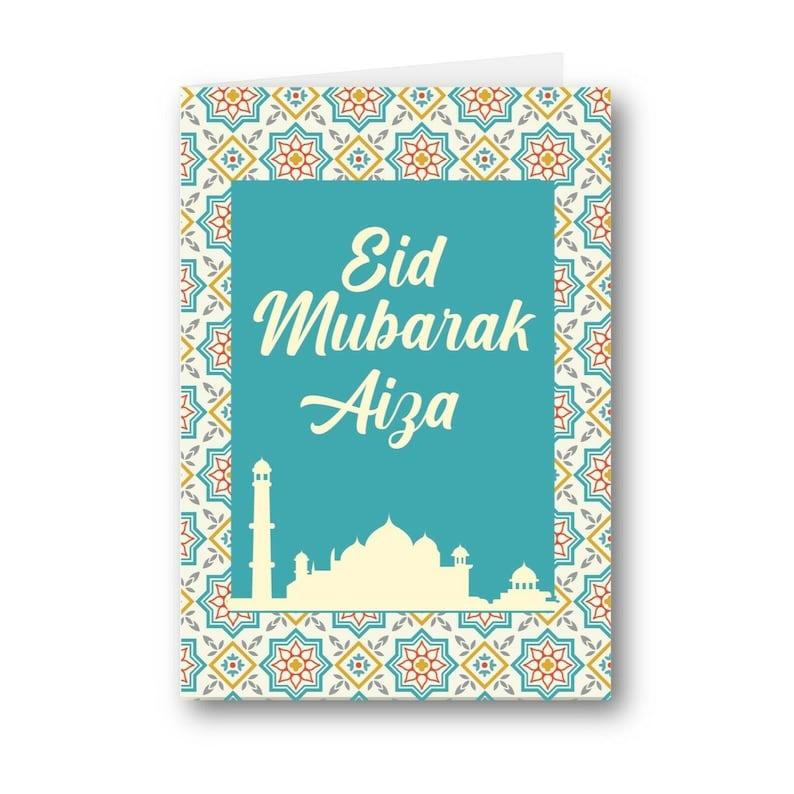 Personalised Card Eid Mubarak Moon And Star Mosque Cute