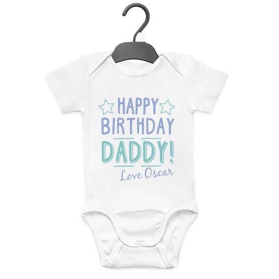 metallic Happy fathers day personalised name Grow Vest BodySuit Romper gift idea