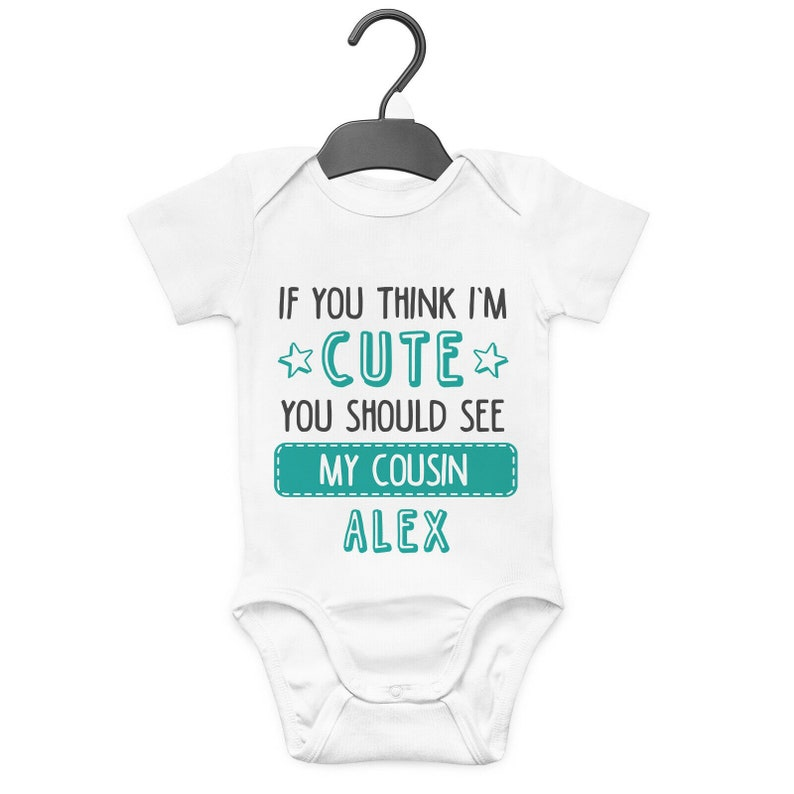 MY BIG COUSIN IS AWESOME PERSONALISED BABY GROW VEST CUSTOM FUNNY GIFT CUTE