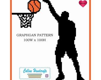 Pattern Graphgan - Shooting Hoops (2082)                                     graphgan,blanket,crochet,afghan,basketball,basketballs
