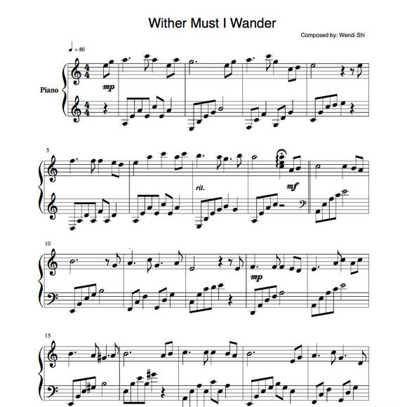 Whither Must I Wander - Sheetmusic