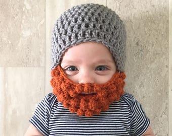 Ginger Beard hat, Crochet baby beard hat, beard hat, baby boy hat, boys hat, crochet beard beanie, crochet men's hat, men's hat