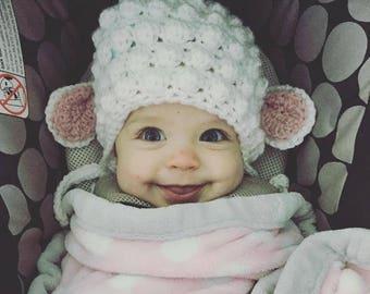 Crochet lamb hat, lamb hat, lamb photo prop, newborn photo prop, newborn hat, baby hat