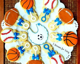 Sport Baby Shower Cookie Favors - We can Customize ANY theme!