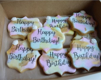 Colorful Decorated Happy Birthday Cookies (Custom Flavors) VEGAN and GLUTEN FREE available!