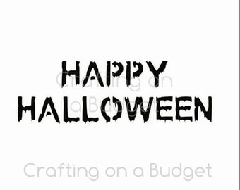 Spooky Happy Halloween Stencil (for cookies, cakes, crafting and more!) FREE US SHIPPING!!!