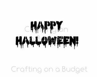 Bloody Happy Halloween Stencil (for cookies, cakes, crafting and more!) FREE US SHIPPING!!!