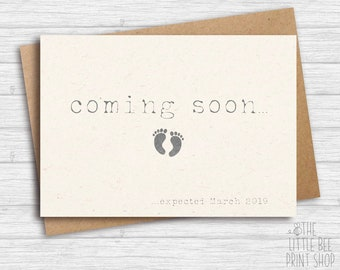 Pregnancy announcement cards etsy pregnancy announcement card coming soon card were having a baby card single card maxwellsz